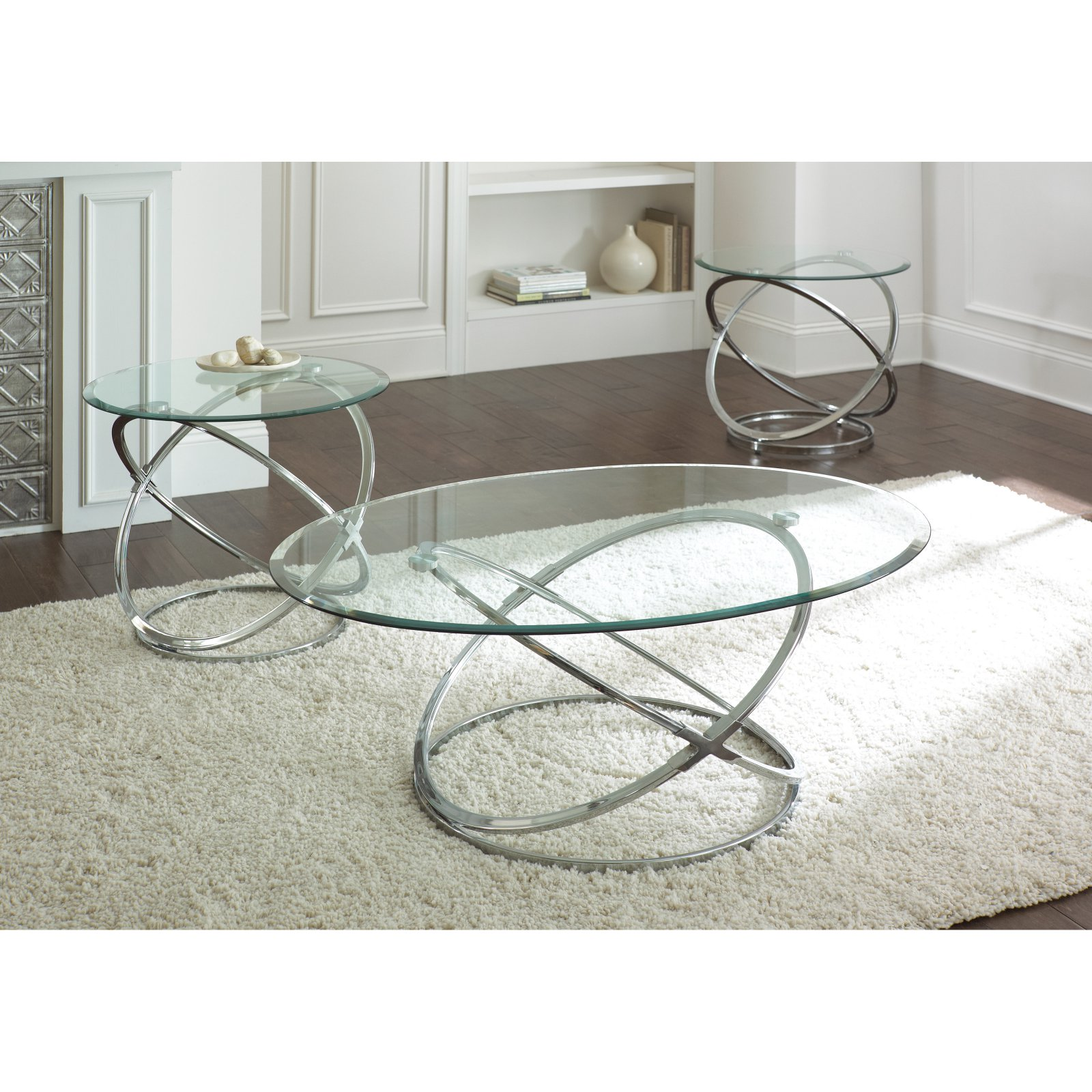 Steve Silver Orion Oval Chrome and Glass Coffee Table Set