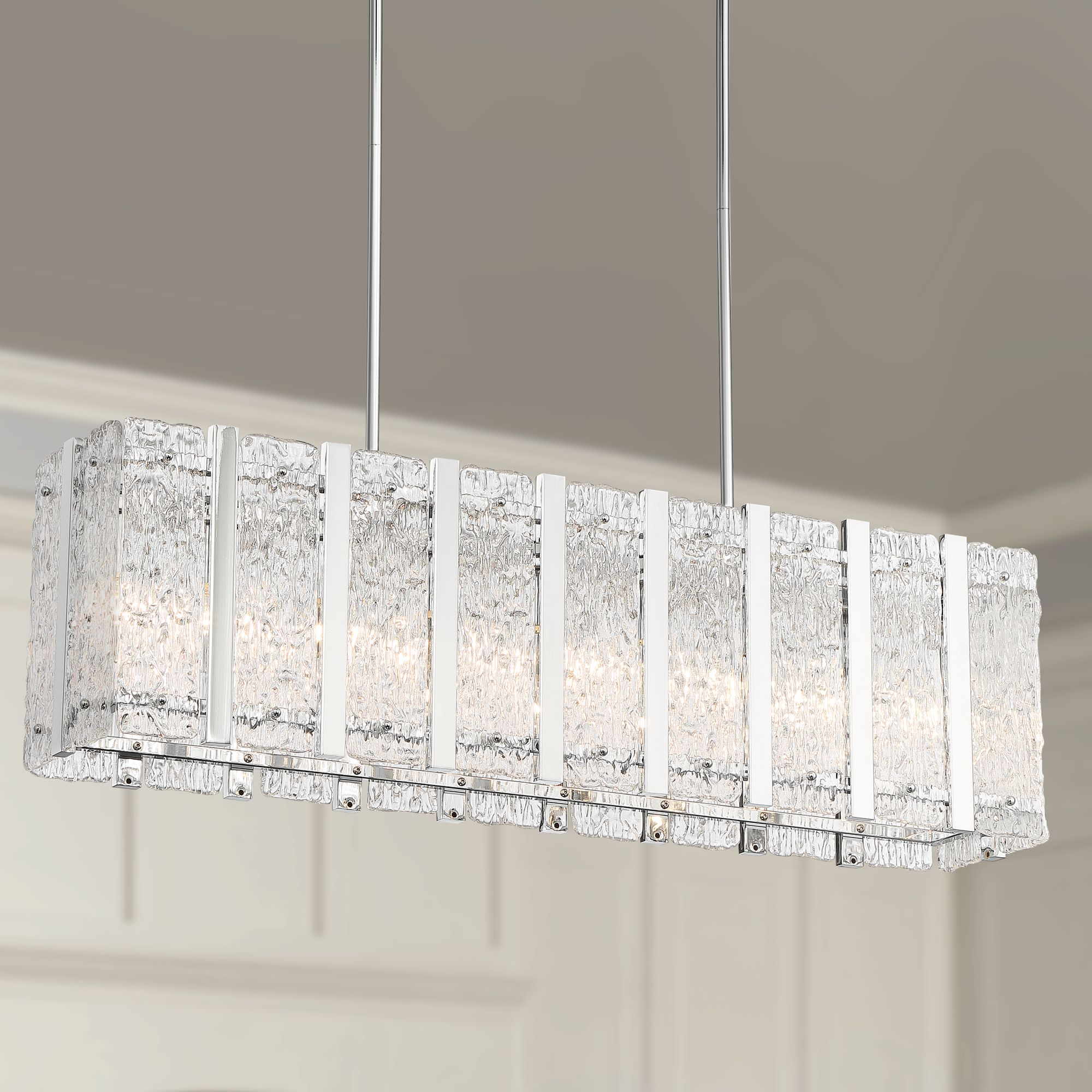 Possini Euro Design Chrome Large Rectangular Island Pendant Chandelier 35 1 4 Wide Modern Glass 9 Light Fixture Kitchen Island Walmart Com Walmart Com
