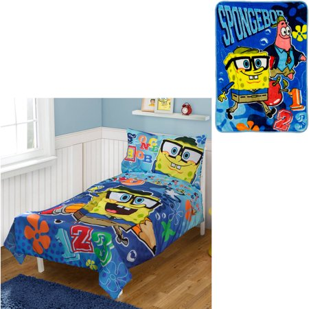 Spongebob Squarepants Throw And Pillow Set : BONUS Blanket with Nickelodeon SpongeBob 4pc Toddler Bedding Set - Walmart.com