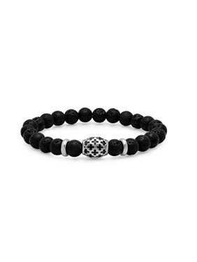 15fa77d478a2e2 Product Image Steeltime Men's Black Lava Beaded Bracelet with Stainless  Steel Cross Accented Bead