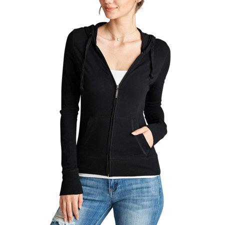 Casual Workout Full Zip Up Long Sleeve Light Thin Hooded Sweatshirt Top