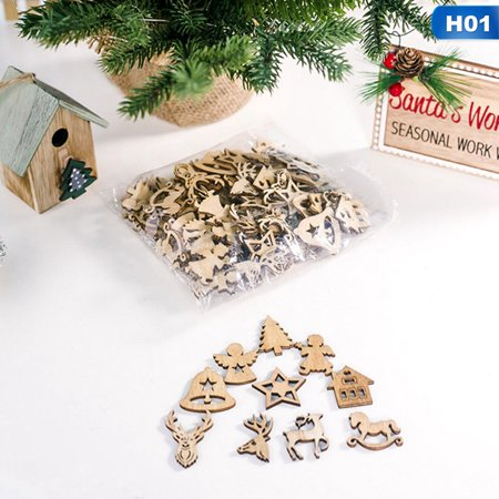 Fancyleo 100Pcs\/Set  Small Pendant Christmas Wood Chip Tree Ornaments Xmas Hanging Pendant Decoration Gifts Home Accessories ()