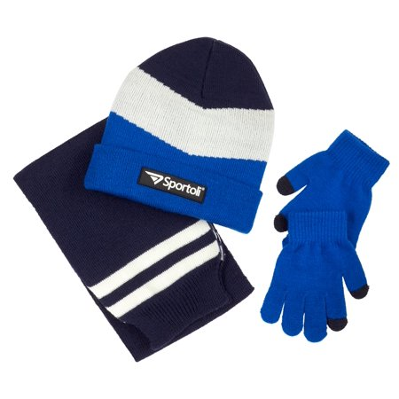 Sportoli Men's and Boys' Kids 3-Piece Chevron Jersey Knit Cold Weather Accessory Set Warm Lined Pull On Hat Scarf and Gloves](Long Blue Satin Gloves)