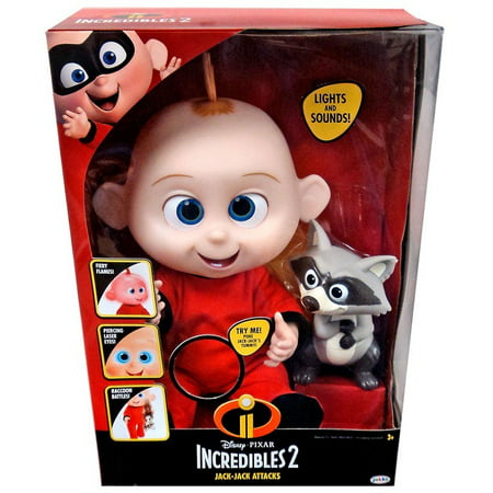 Incredibles 2 jack jack attacks feature action doll with lights and sound includes raccoon