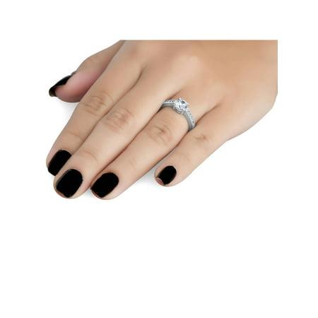 Vintage Diamond Engagement Ring 1 Carat 14K White Gold Round Brilliant Cut - image 1 de 3