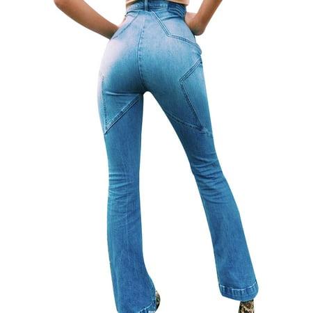 JDinms Women's Classic High Waist Denim Bell Bottoms - Women's Bell Bottom Jeans