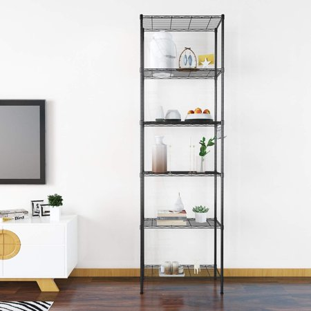 6-Tier 600lbs Capacity Rack Wire Shelving with Side Hooks for Kitchen Bedroom Garage Shelves Hifashion ()