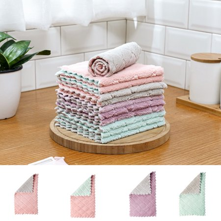 Electronicheart Double Colors Rag Dish Cloth Water Absorption Thickening Pot Washing Towel Table Home Kitchen Dishcloth - image 4 de 8