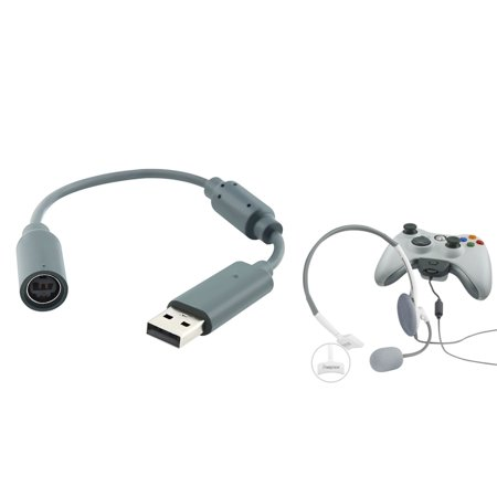 Insten Mono Headset with Microphone + Wired Controller USB Breakaway Cable Cord for Microsoft Xbox 360 (2-in-1 Accessory Bundle)