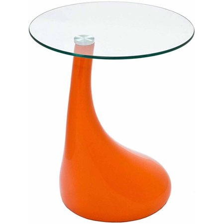Modway Teardrop Accent Side Table with Glass Top, Multiple Colors ()