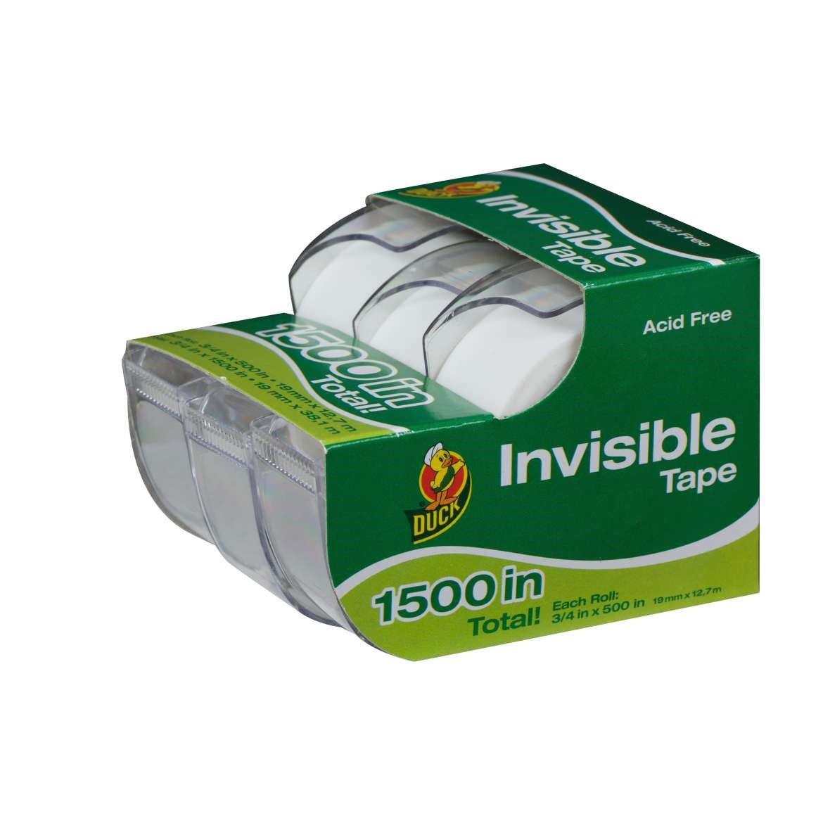 """Duck Brand Matte Finish Invisible Tape- 0.75"""" x 500"""", 3 pack caddy"""