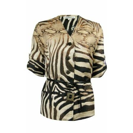 Print Jacquard Jacket (Caroline Rose Women's Jacquard Animal Print Belted Shirt)