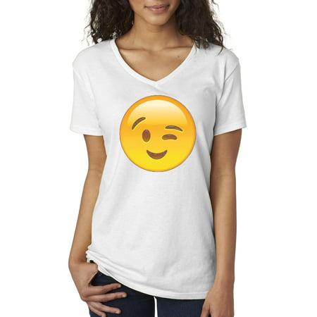 New Way 343 - Women's V-Neck T-Shirt Emoji Face Winking Eye Wink