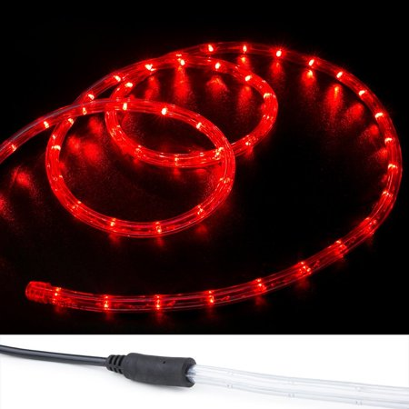 12' Flat Rope Light - WYZworks 10', 20', 25', 50', 100', 150' ft (10' feet) Red LED Rope Lights 2 Wire Accent Holiday Christmas Party Decoration Lighting | UL Certified