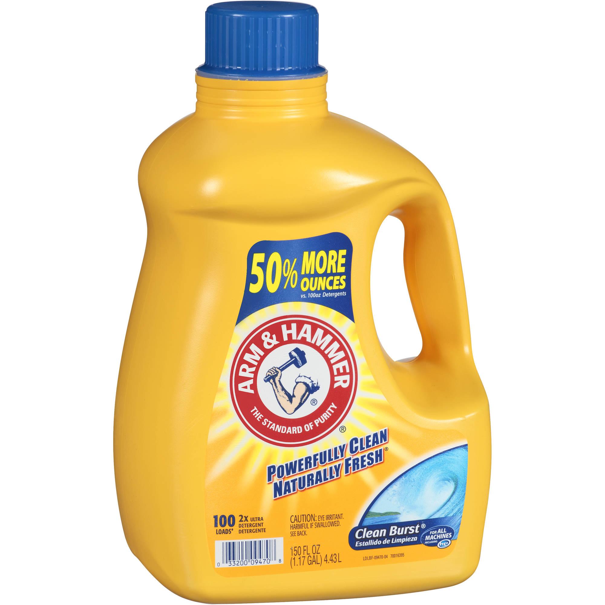 Arm & Hammer 2x Concentrated Liquid Laundry Detergent, Clean Burst , 150 oz