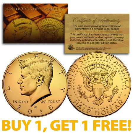 2018-D 24K GOLD Gilded JFK Kennedy Half Dollar Coin (D Mint) BUY 1 GET 1 FREE (One Penny Coin)