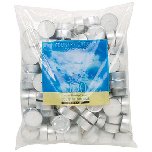 """Darice Unscented Wax Tea Lights 1.5""""X.5"""" 100/Pkg-White"""