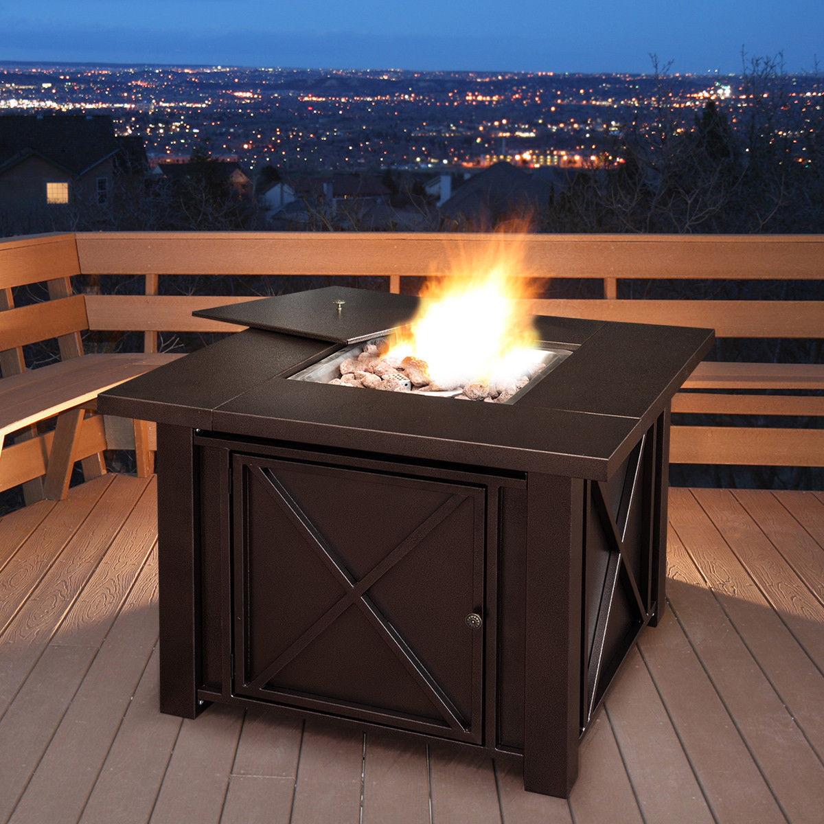 "Costway 38"" Square Patio Heater Propane Gas Fire Pit Table 40000 BTUs Outdoor - image 6 de 10"