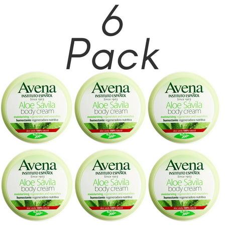 Instituto Espanol Avena Aloe Vera Savila Cream, Moisturizing, 6.7 FO. Pack of 6