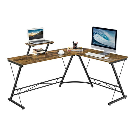 SmileMart Wide L-shaped Corner Home Office Computer Desk with Monitor Stand, Rustic Brown