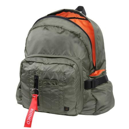 Cheeseburger Backpack Steven Universe (MA-1 Bomber Backpack, Travel Pack, Sage Green w/Orange)