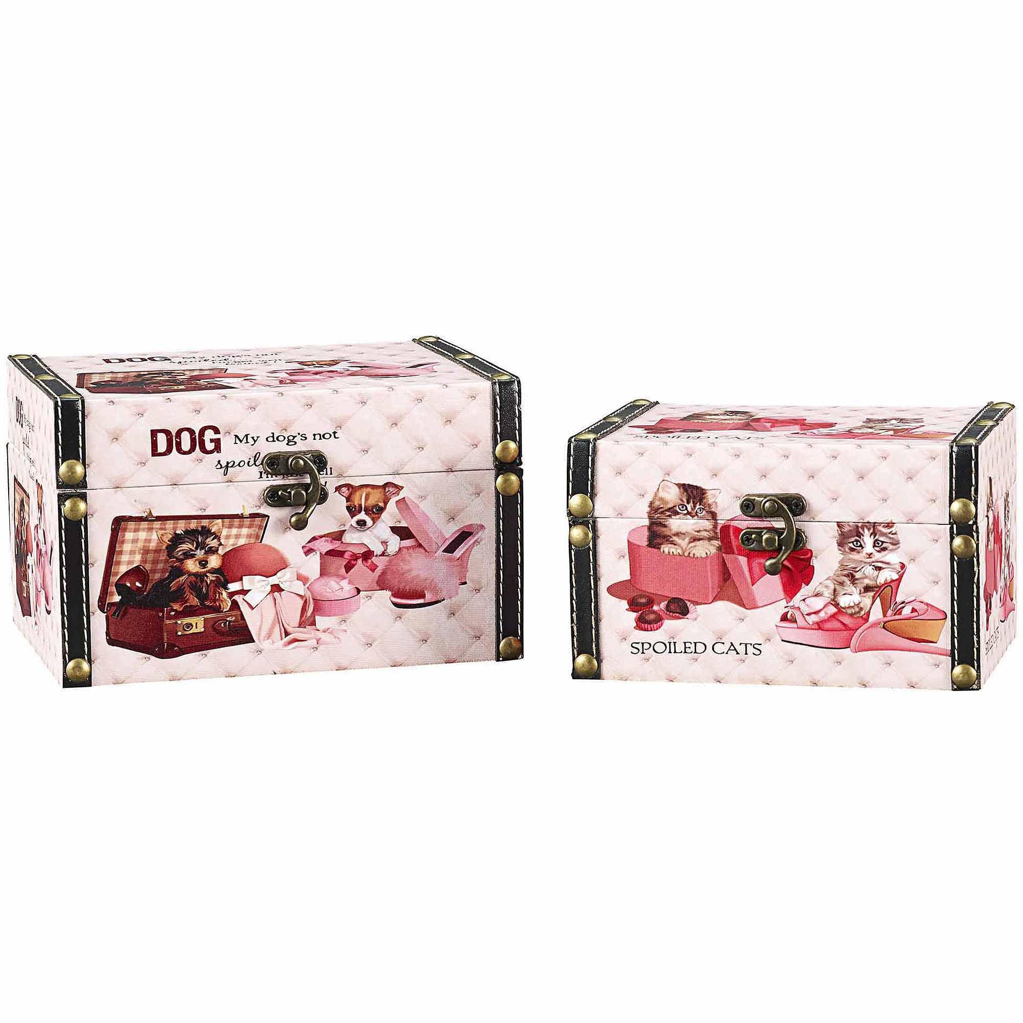 Household Essentials Decorative Storage Box, Cat and Dog Design, Set of 2