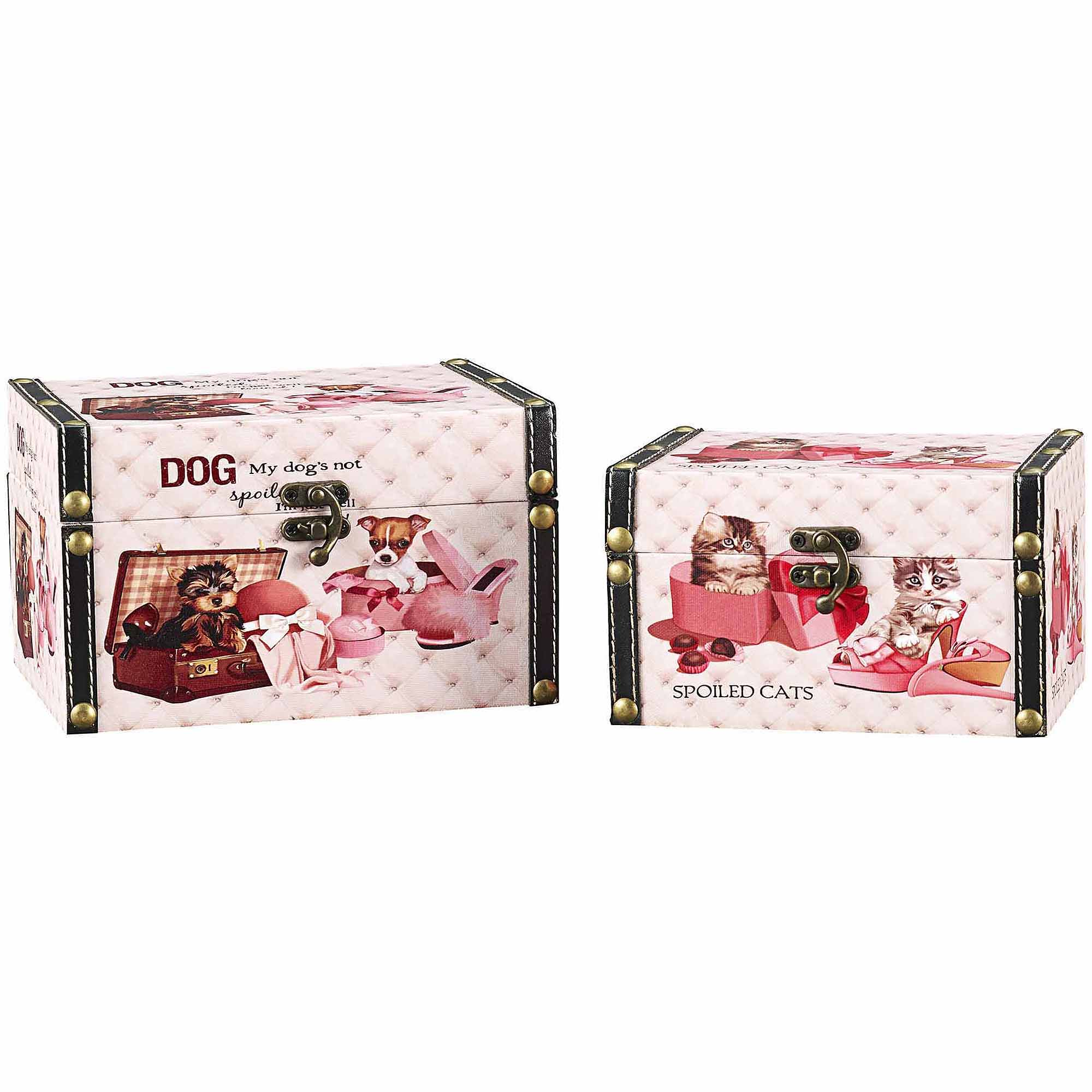 Household Essentials Decorative Storage Box, Cat and Dog Design, Set of 2