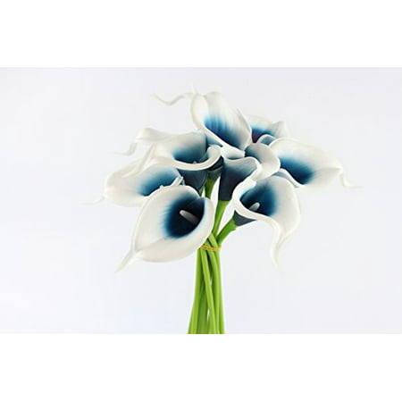 - 10pc set of Real Touch calla lily-Keepsake artificial calla lily with Small Bloom perfect for making bouquet, boutonniere,corsage.Quality keepsake artificial flower (Picasso Pacific Blue)