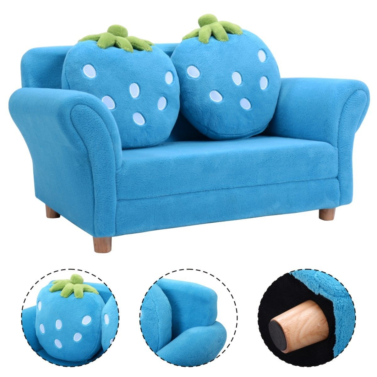 Costway Kids Sofa Strawberry Armrest Chair Lounge Couch w/2 Pillow Children Toddler Blue