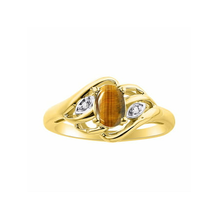 Plated Tigers Eye (Diamond & Tiger Eye Ring Set In Yellow Gold Plated Silver Birthstone DSL-LR6424TEY )