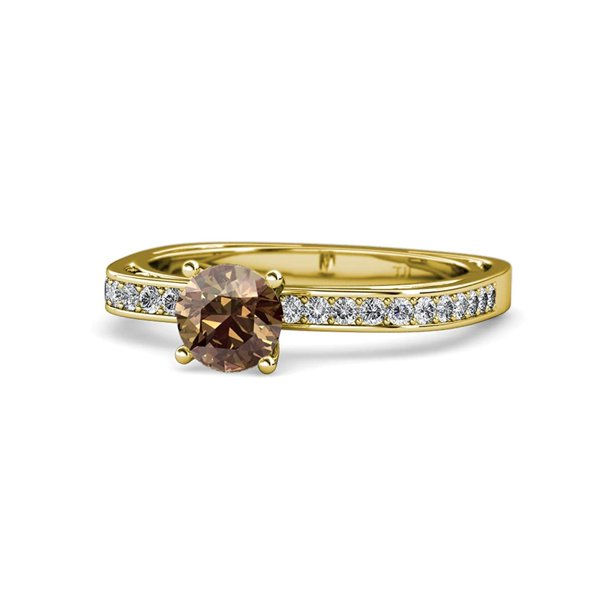 Smoky Quartz and Diamond (SI2-I1, G-H) Euro Shank Engagement Ring 1.10 ct tw 14K Yellow Gold.size 6.0