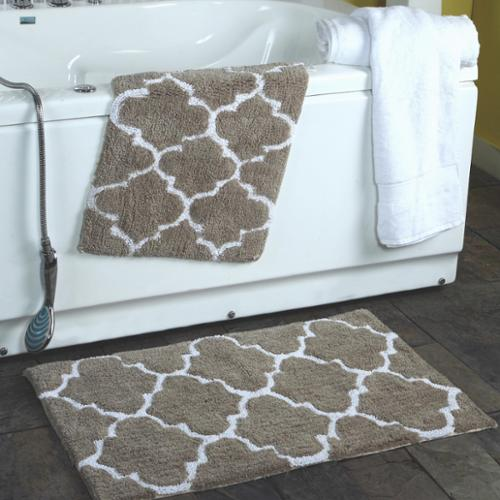 2-piece Moroccan Trellis 100-percent Cotton Bath Rug Set Grey