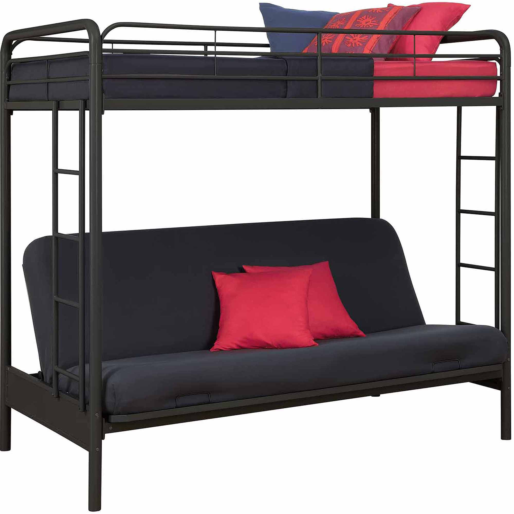 Medium image of dorel home products twin over futon low loft bed with built in ladder   walmart