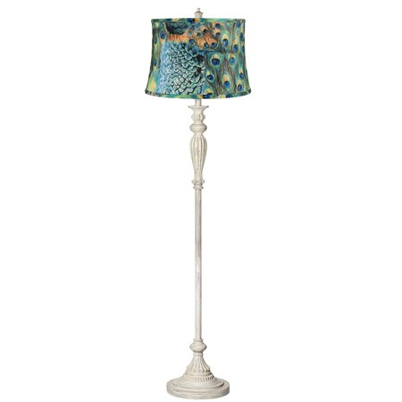 360 Lighting Shabby Chic Floor Lamp Antique White Peacock