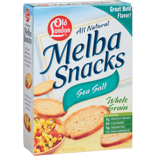 Old London All Natural Sea Salt Whole Grain Melba Snacks, 5.25 oz (Pack of 12)