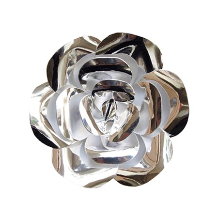 Mega Crafts - 12'' Handmade Paper Flower in Metallic Silver | For Home Décor, Wedding Bouquets & Receptions, Event Flower Planning, Table Centerpieces, Backdrop Wall Decoration, Garlands & Parties ()