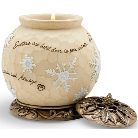 Snowflake Tea - Pavilion- Season of Comfort - Sisters are held dear to our hearts Christmas Snowflake Round Tealight Candle Holder
