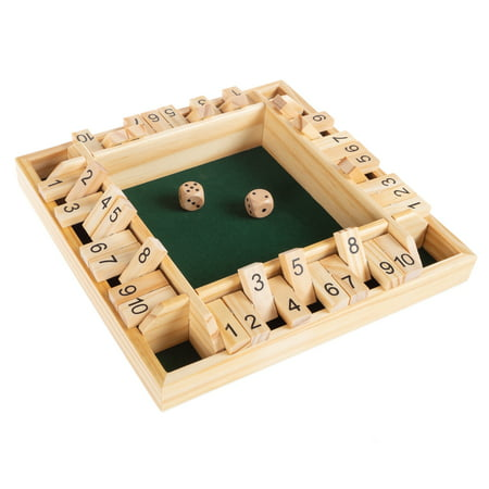 Shut The Box Game-Classic 10 Number Wooden Set with Dice Included-Old Fashioned, 4 Player Thinking Strategy Game for Adults and Children by Hey! Play!