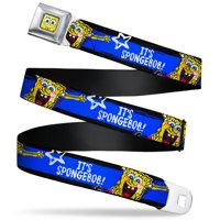 Belt Seatbelt Buckle Spongebob Pose Its Spongebob Stripe Black Blue White 24 to 38 Inches