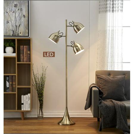 - Artiva USA Caprice 64 in. Antique Satin Brass LED Tree Floor Lamp