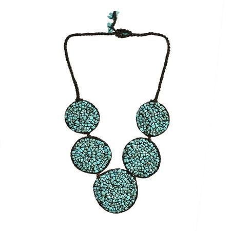 Handmade Turquoise Necklace (Mosaic Bubble Bib Handmade Turquoise)