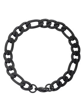 Coastal Jewelry Black Plated Stainless Steel Figaro Chain Bracelet