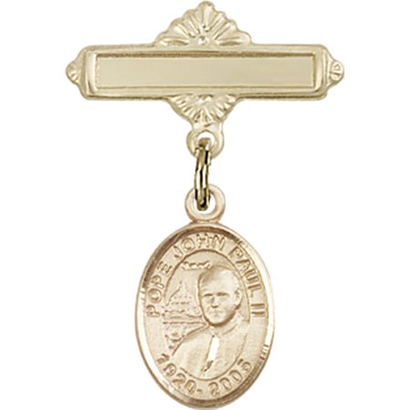 14kt Yellow Gold Baby Badge with St. John Paul II Charm and Polished Badge Pin 1 X 5/8 inches