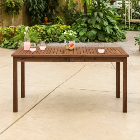 Walker Edison Acacia Wood Patio Simple Dining Table ()