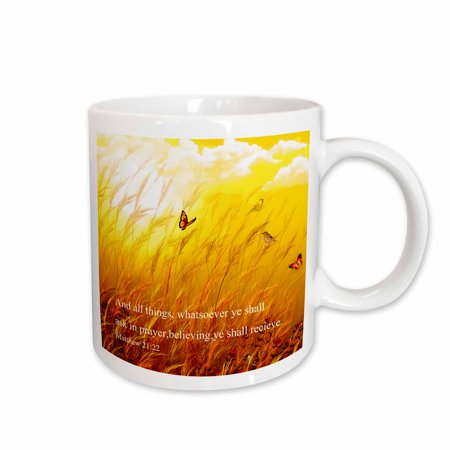 - 3dRose Bible scripture from Mathew on a meadow with birds and butterflies. - Ceramic Mug, 11-ounce