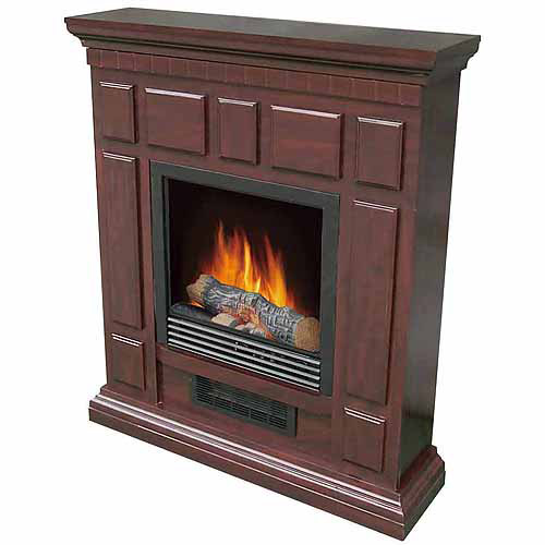 "DECOR FLAME Electric Space Heater Fireplace with 32"" Mantle, Cherry"