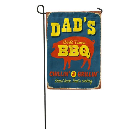 Flag Vintage Metal (LADDKE Retro Vintage Metal Sign Dad BBQ Effects Can Be Easily Removed Grill Barbecue Garden Flag Decorative Flag House Banner 12x18 inch )