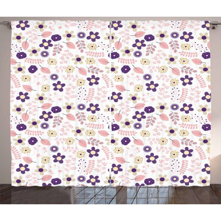 - Floral Curtains 2 Panels Set, Abstract Combination of Spring Flowers Dahlias Chrysanthemum and Leaves, Window Drapes for Living Room Bedroom, 108W X 84L Inches, Purple Coral and Cream, by Ambesonne