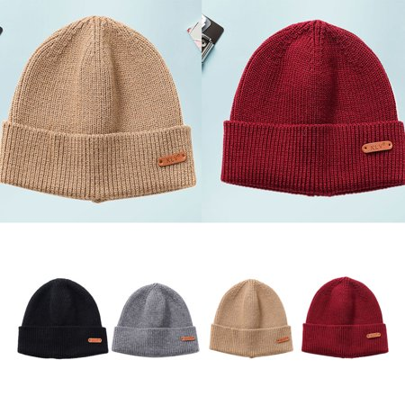 Ustyle Outdoor Autumn Winter Casual Knit Hats Women Men Beanie Hat Warm Knitted Caps Solid Color - image 1 of 9
