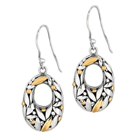 Oxidized Graduated Oval Dangle Earrings With Florentine Pattern Collection
